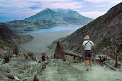 Located on the flanks of Mount Saint Helens, Spirit Lake was in 1985 still mostly covered with logs, which came from a formerly lush forest which was blasted and avalanched by the May 18, 1980 eruption. 