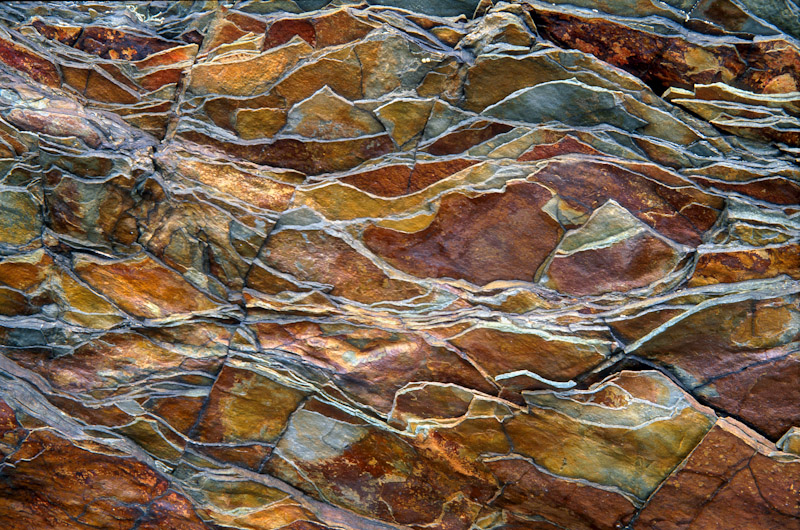 Billion-year-old rock breaks into a jagged pattern in Glacier National Park, Montana.