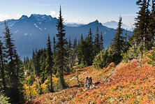 Big Four Mountain, Hall Peak, Mount Pilchuck, and the valley of the South Fork of the Stillaguamish River are seen from Mount Dickerman Trail #710 in Mount Baker-Snoqualmie National Forest. Start hiking from the trailhead on the Mountain Loop Highway east