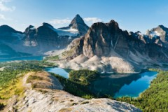 Mount Assiniboine, Lake Magog, Sunburst Lake, and Cerulean Lake, Mount Assiniboine Provincial Park, British Columbia, Canada.