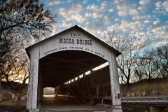Mecca Covered Bridge (150 feet long) was built in Burr Arch style over Big Raccoon Creek in 1873 by J.J. Daniels in historic Parke County, Indiana, USA.