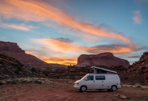 Orange sunset. Camp on BLM land, Blue Notch Canyon Road, Utah, USA.