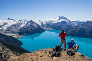See turquoise Garibaldi Lake from Panorama Ridge. Coast Range, British Columbia, Canada.