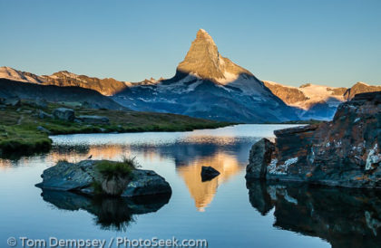 Matterhorn reflects in Stellisee, Switzerland.