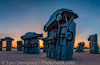 Sunrise at Carhenge, Alliance, Nebraska, High Plains region, USA.