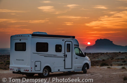 Pleasure-Way RV at sunrise. San Rafael Swell Recreation Area, Utah, USA.