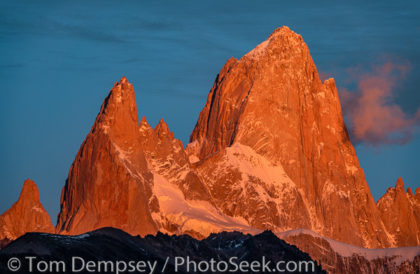 Sunrise illuminates Monte Fitz Roy / Cerro Fitz Roy. El Chalten, Santa Cruz Province, Argentina, Patagonia, South America.