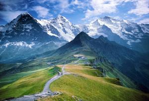 From Mannlichen, view Eiger, Monch, Jungfrau, Grindelwald Valley, Lauterbrunnen Valley, Switzerland, Alps, Europe.