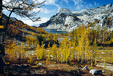 From Prusik Pass, view Enchantment Basin, golden larch trees in October, Enchantment Lakes, and Little Annapurna in the Stuart Range of Alpines Lakes Wilderness Area, accessible by trail from Icicle Creek Road, near Leavenworth, Washington, USA.