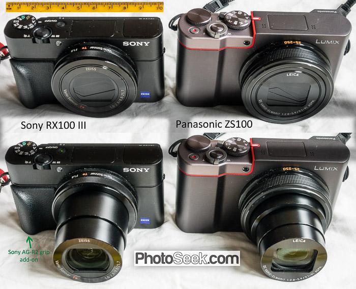 Panasonic ZS100 vs Sony RX100 III size