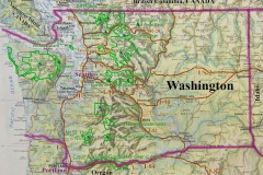 Washington map of major parks, cities, roads, geography